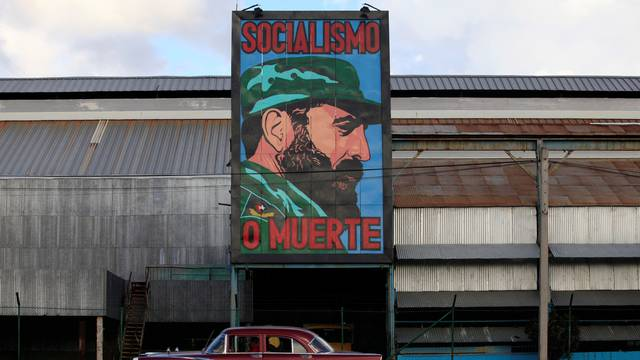A painting of Cuba's former president Fidel Castro is seen at a factory in Havana, Cuba