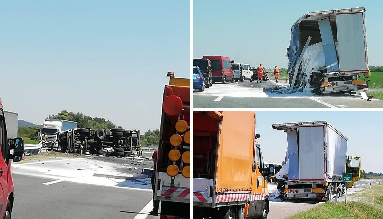 Strašne fotografije: Sudarili se kamioni, jedan probio ogradu