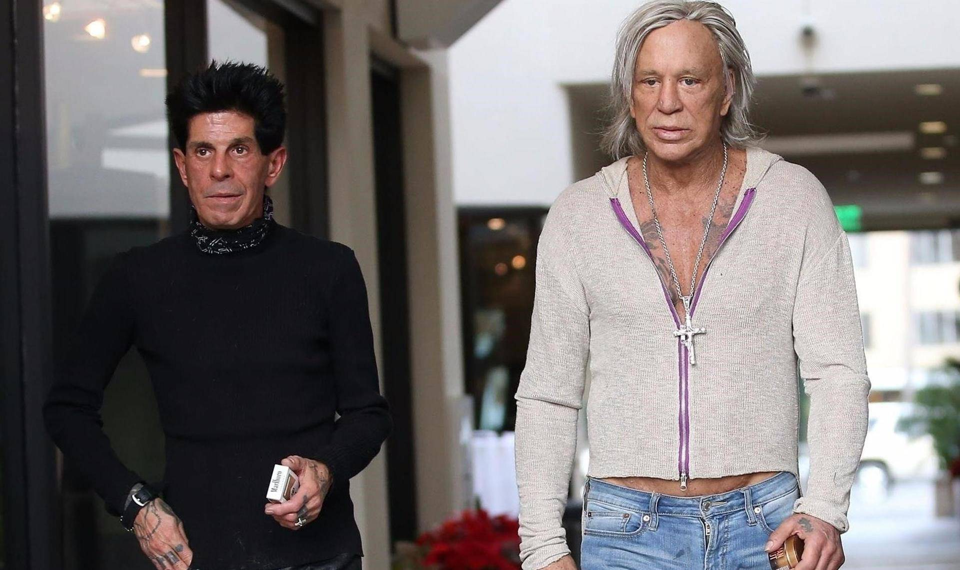 Mickey Rourke heads out for lunch at Mulberry Street Pizzeria