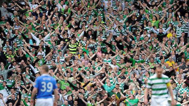 FILE PHOTO: Celtic fans show their support for manager Neil Lennon during their 0-0 draw with Rangers in a Scottish Premier League clash at Ibrox Stadium, Glasgow.