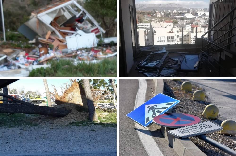 Bura u Mokošici uništila kiosk, u Splitu izbila prozore zgrade