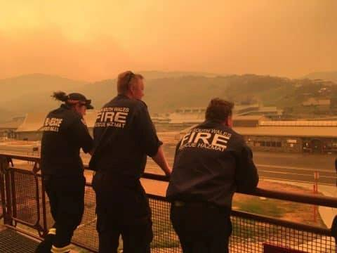 Fire crew stand by at Perisher Valley, New South Wales, Australia, in this January 4, 2020 image obtained from social media