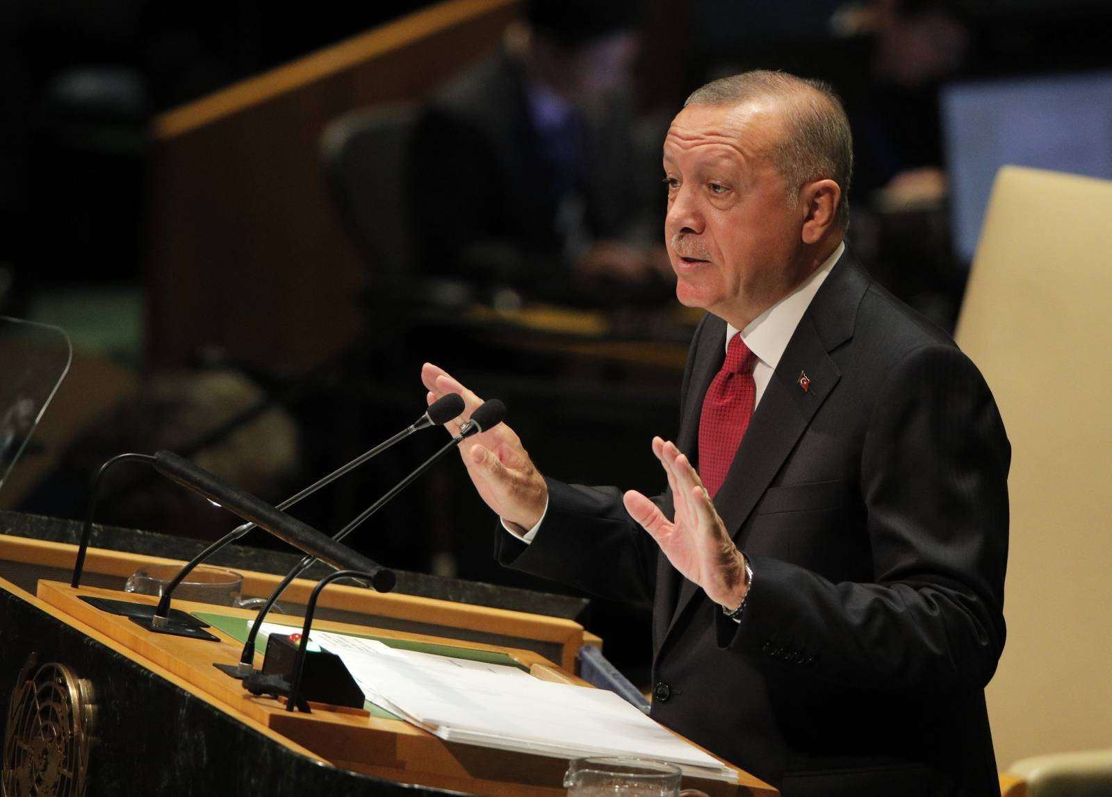 Turkey's President Recep Tayyip Erdogan addresses the 74th session of the United Nations General Assembly at U.N. headquarters in New York City, New York, U.S.
