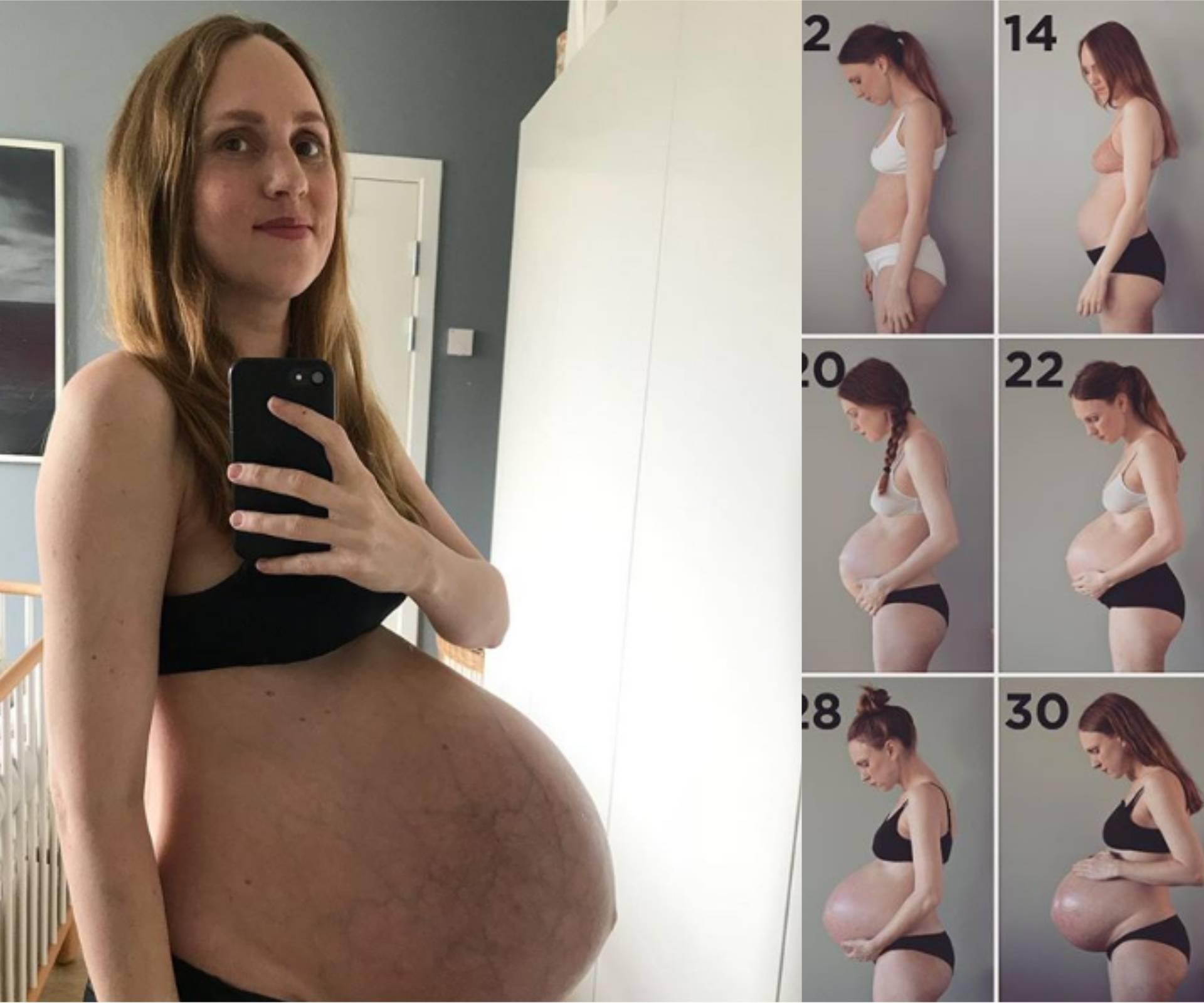 Nevjerojatne fotke: Ovako vam trbuh raste dok nosite trojke!
