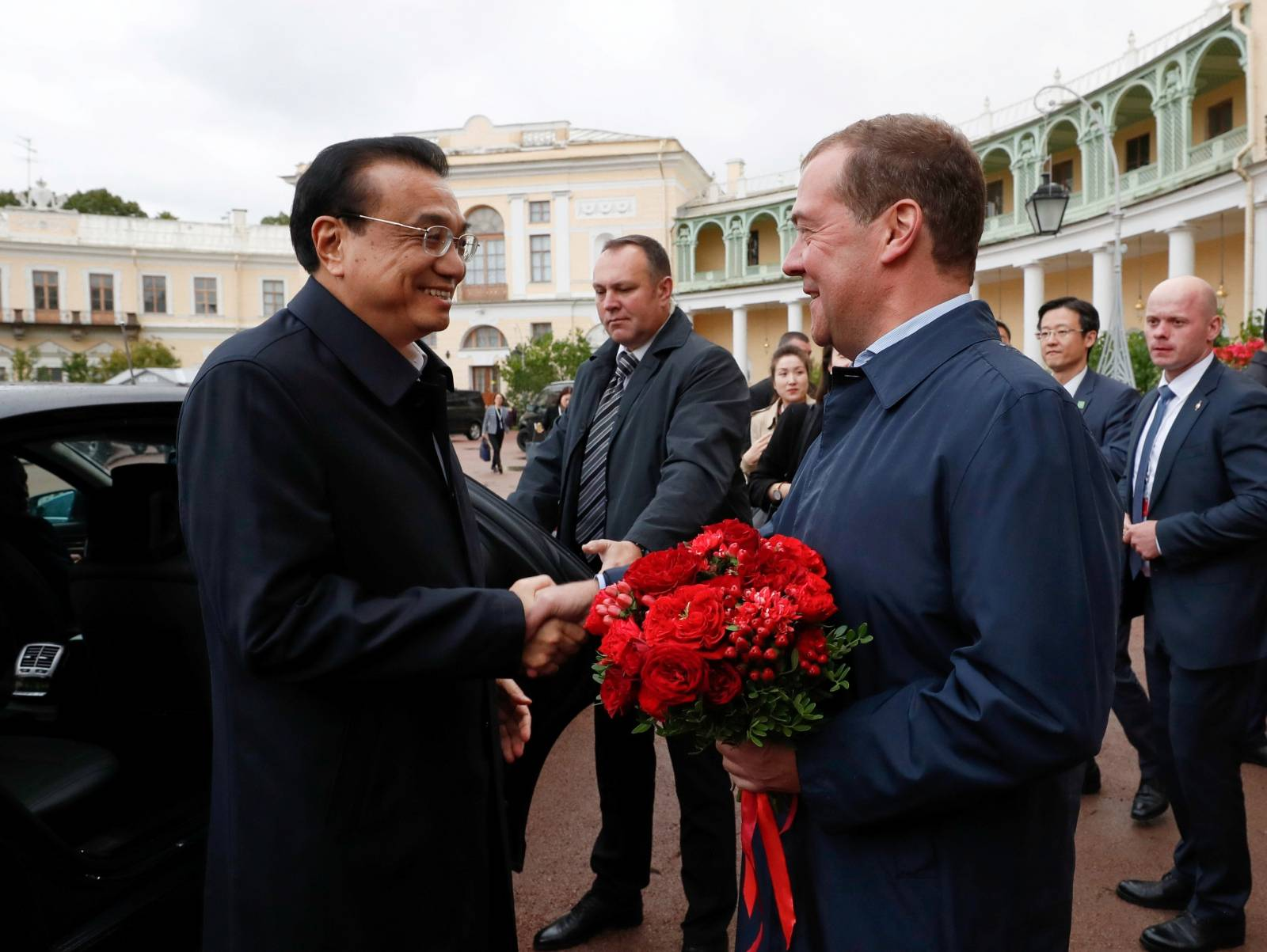 Russian Prime Minister Dmitry Medvedev meets with Chinese Premier Li Keqiang in St. Petersburg