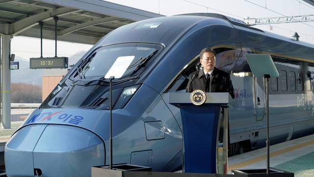 South Korean President Moon Jae-in delivers a speech during an opening ceremony for KTX-Eum train at Wonju station in Wonju