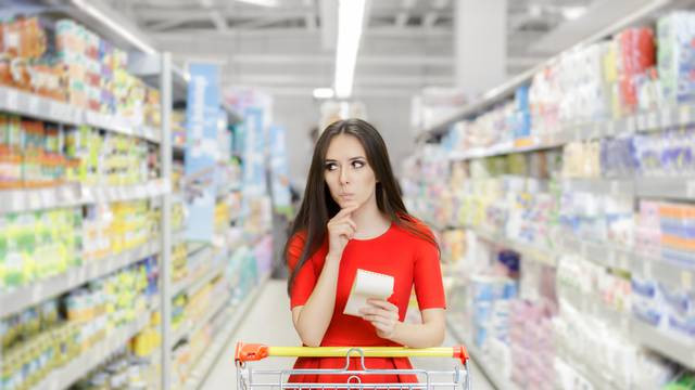 Curious,Woman,In,The,Supermarket,With,Shopping,List-,Young,Girl