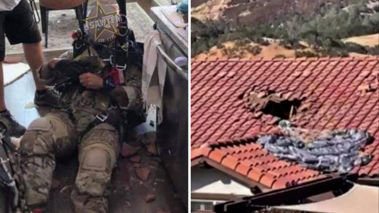Čudom preživio: Padobranac pao i proletio kroz krov kuće, sletio ljudima ravno u kuhinju