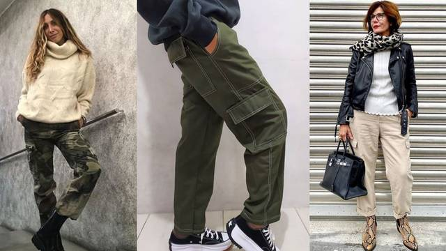 Cargo hlače super izgledaju uz kožnjake i velike pletene veste