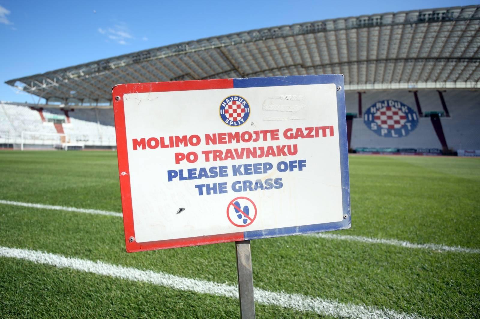 Split: Travnjak na Poljudu u lošem stanju uoči utakmice Hrvatska - Madjarska