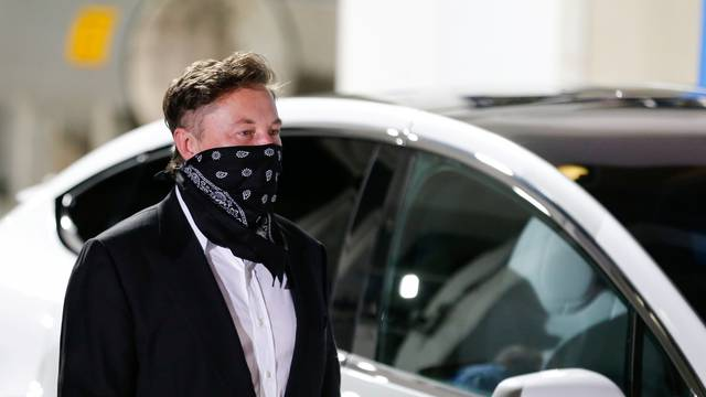 SpaceX founder Elon Musk arrives ahead of the launch of the SpaceX Falcon 9 rocket with the Crew Dragon capsule, in Cape Canaveral