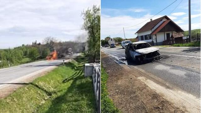 VIDEO Kod Virovitice je čekao da prođu ovce, zapalio mu se BMW
