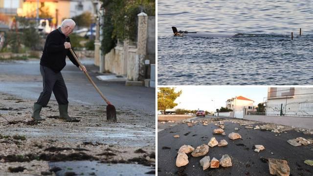 Olujno jugo izbacilo kamenje na cestu, potopilo nekoliko brodica
