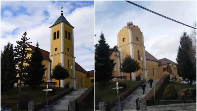 VIDEO Uništena župna crkva u Kravarskom, ostala bez tornja