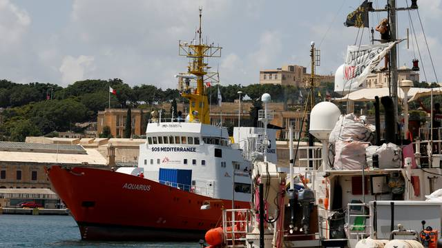 FILE PHOTO: The humanitarian ship Aquarius is seen at Boiler Wharf in Senglea