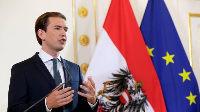 Austrian Chancellor Kurz delivers his speech in Vienna