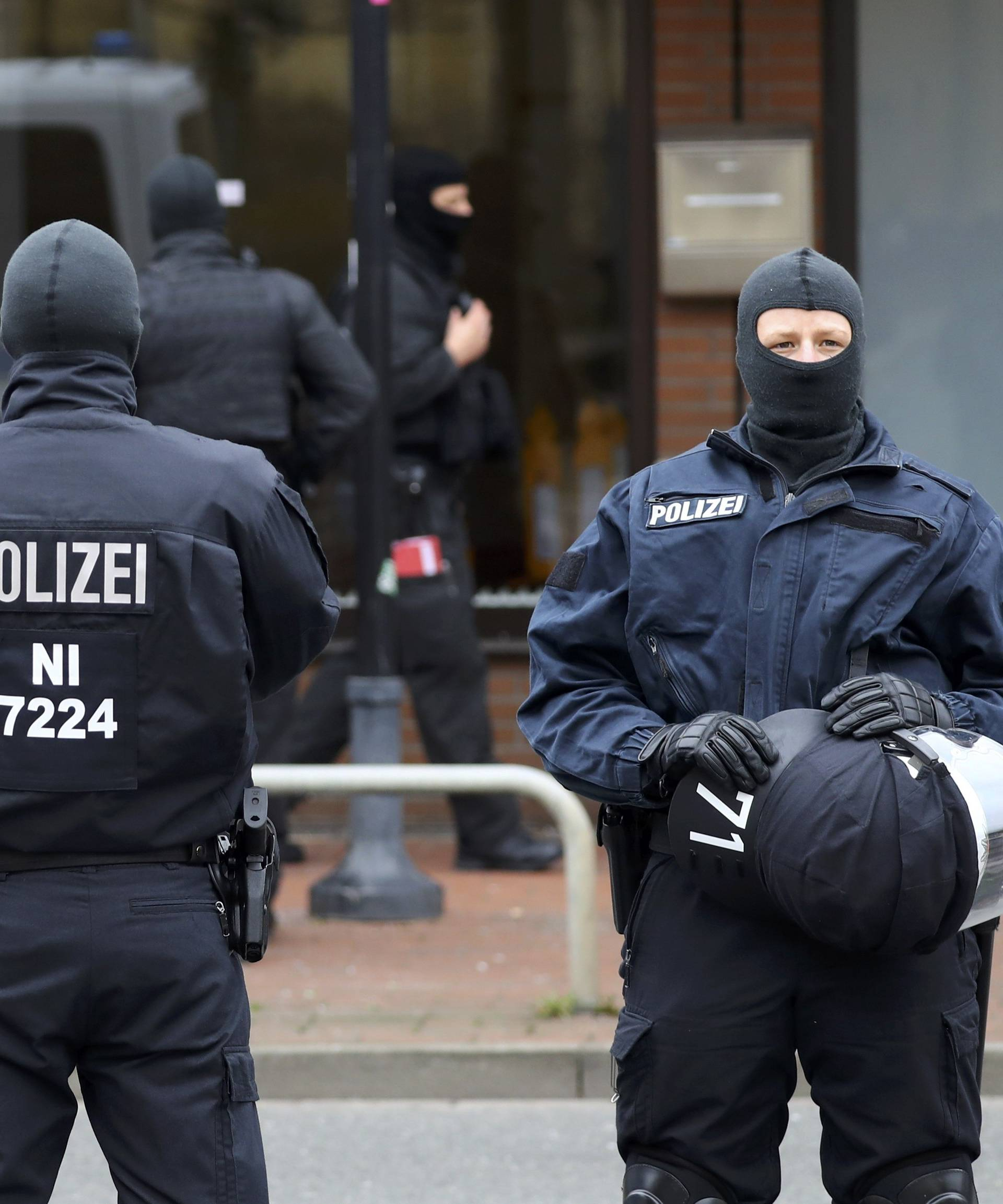 German special police forces outside a muslim prayer room in Hildesheim