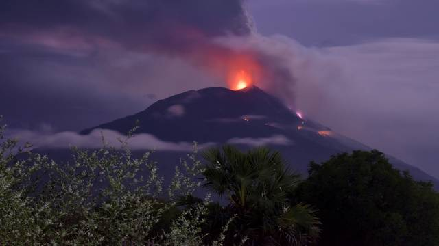 An eruption of Mount Ile Lewotolok