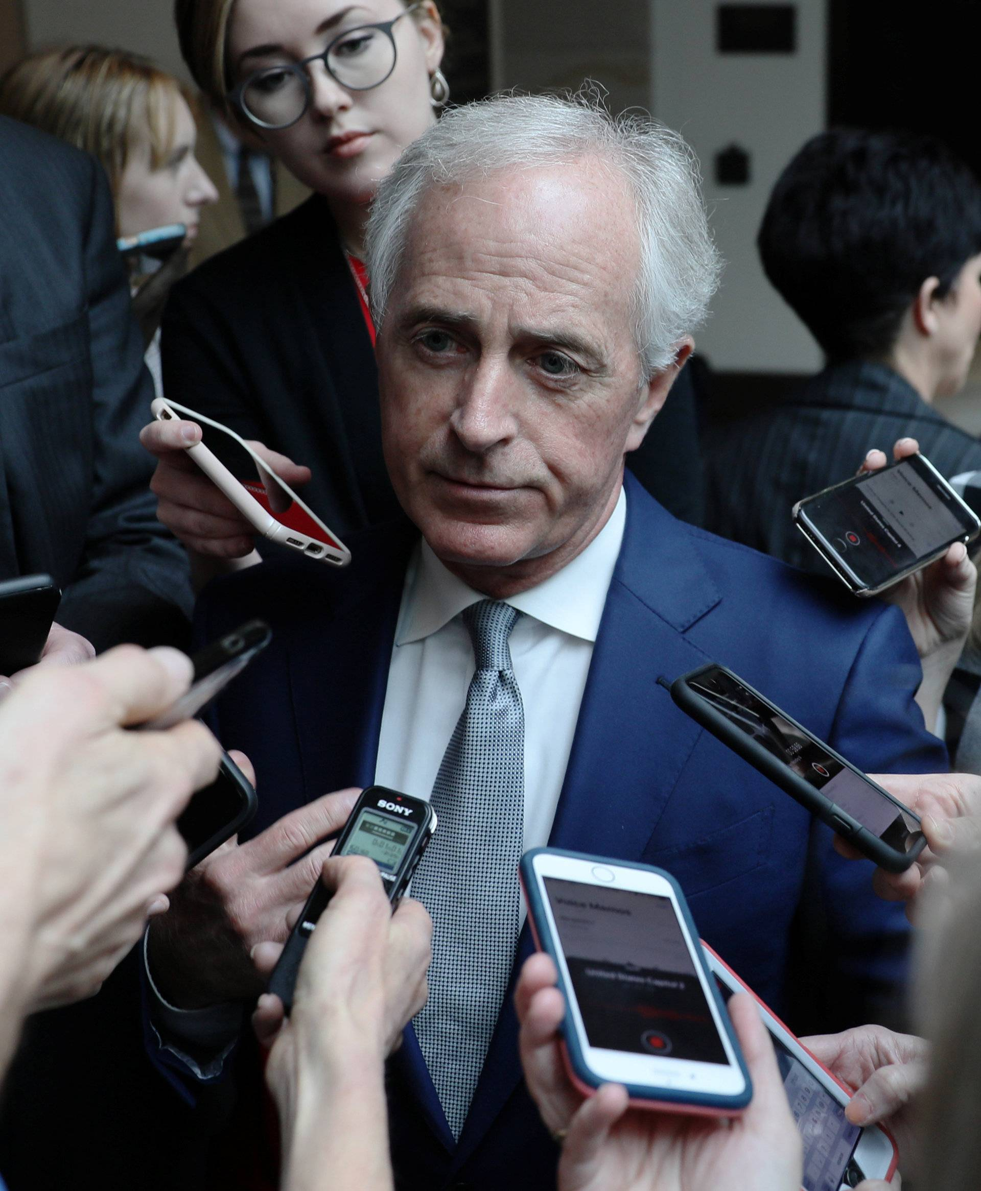 U.S. Senator Corker speaks to reporters after attending a closed-door briefing, on the Khashoggi death, by CIA Director Haspel at the U.S. Capitol in Washington