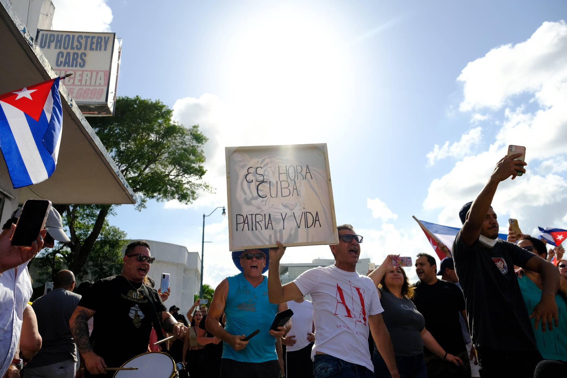 Emigres in Little Havana react to reports of protests in Cuba against the deteriorating economy