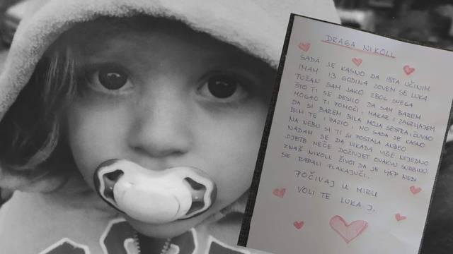 Dječak iz Zagreba napisao je dirljivo pismo umrloj curici: 'Da si barem bila moja sestra...'