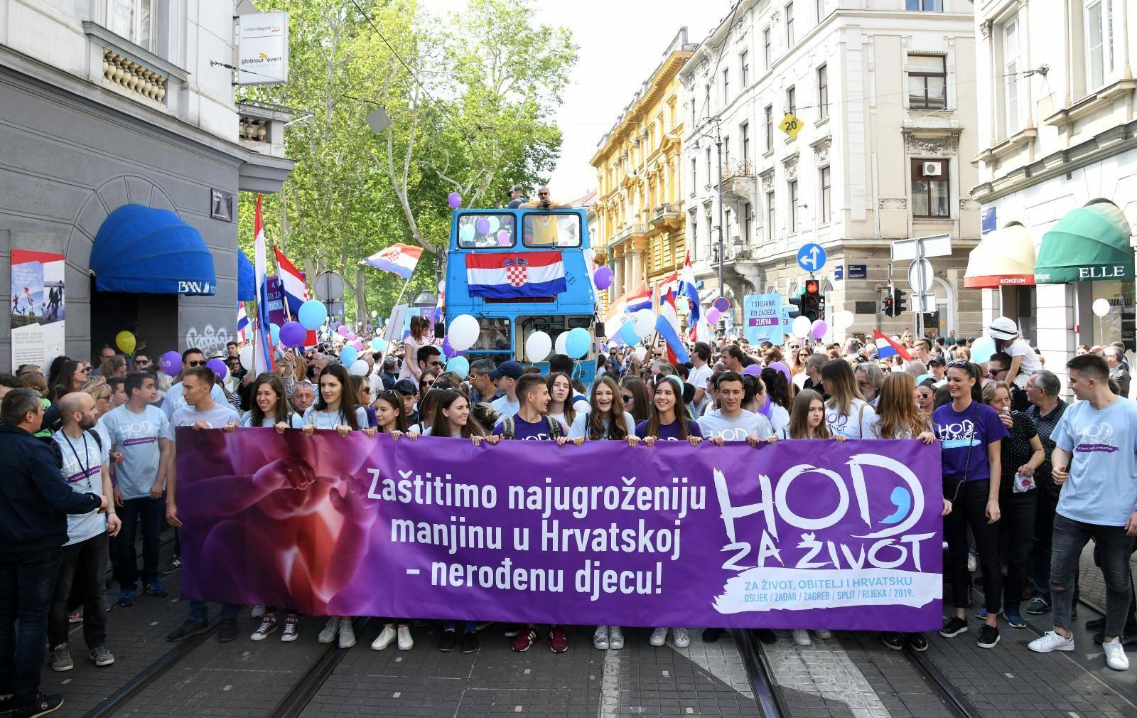 Hod za život u osam hrvatskih gradova, u Zagrebu 27. lipnja