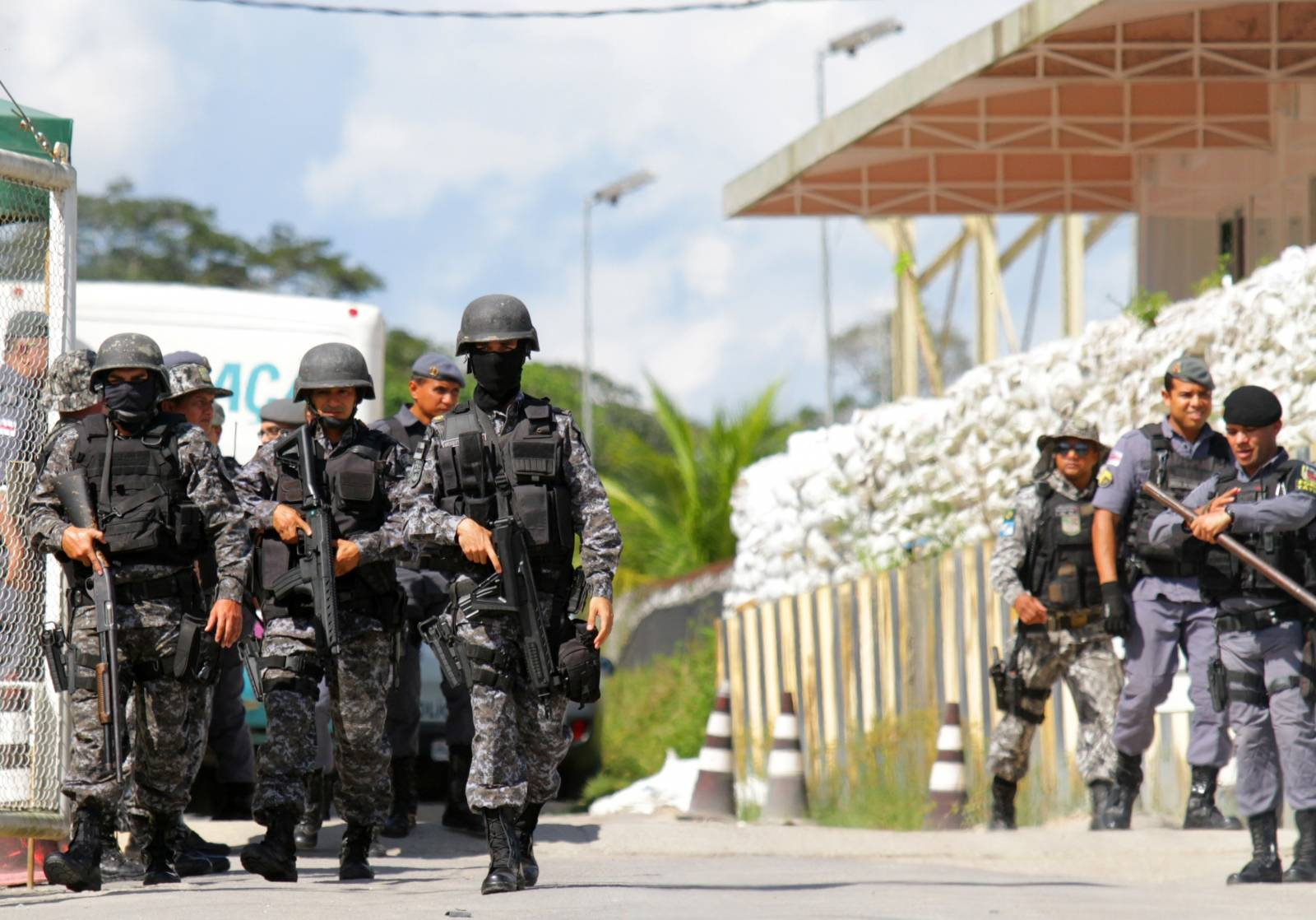 Policemen are seen during a riot in a prison in Brazilian state of Amazonas in Manaus