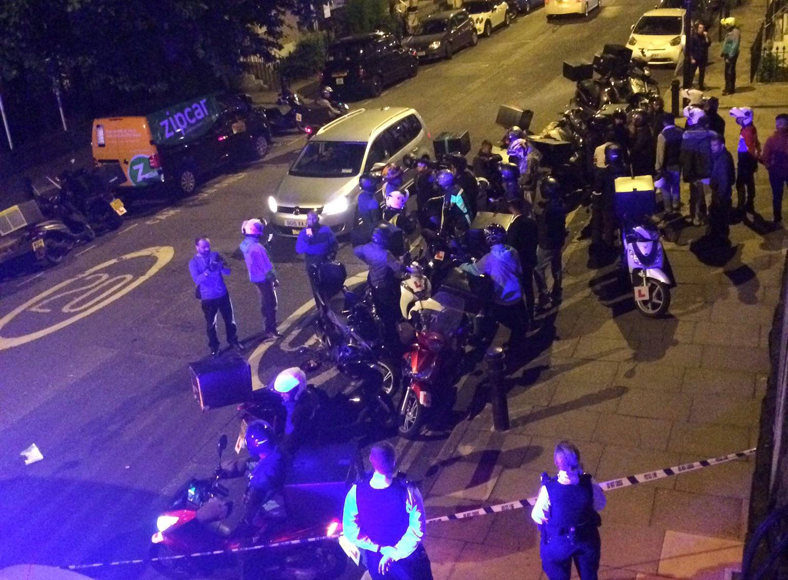 Emergency response following acid attack on the junction of Hackney Road junction with Queensbridge Road, London