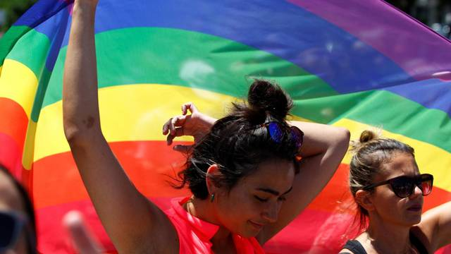 People take part in the first Gay Pride parade in Skopje