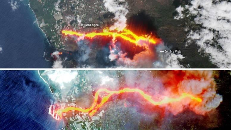 Nove satelitske snimke vulkana na Kanarima: Stvoren novi tok lave, 'progutala' 1186 zgrada