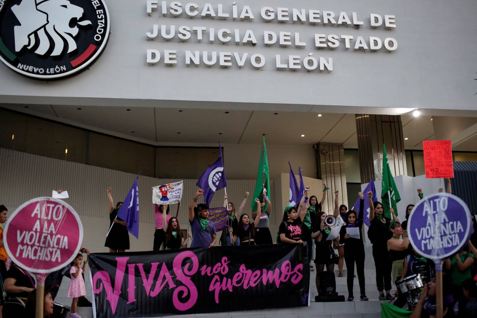 """Women demonstrate at the """"They Don't Protect Me, They Rape Me"""" protest to demand justice for two teenage girls that local media reported were apparently raped by policemen, outside the Nuevo Leon's Attorney General's office in Monterrey"""