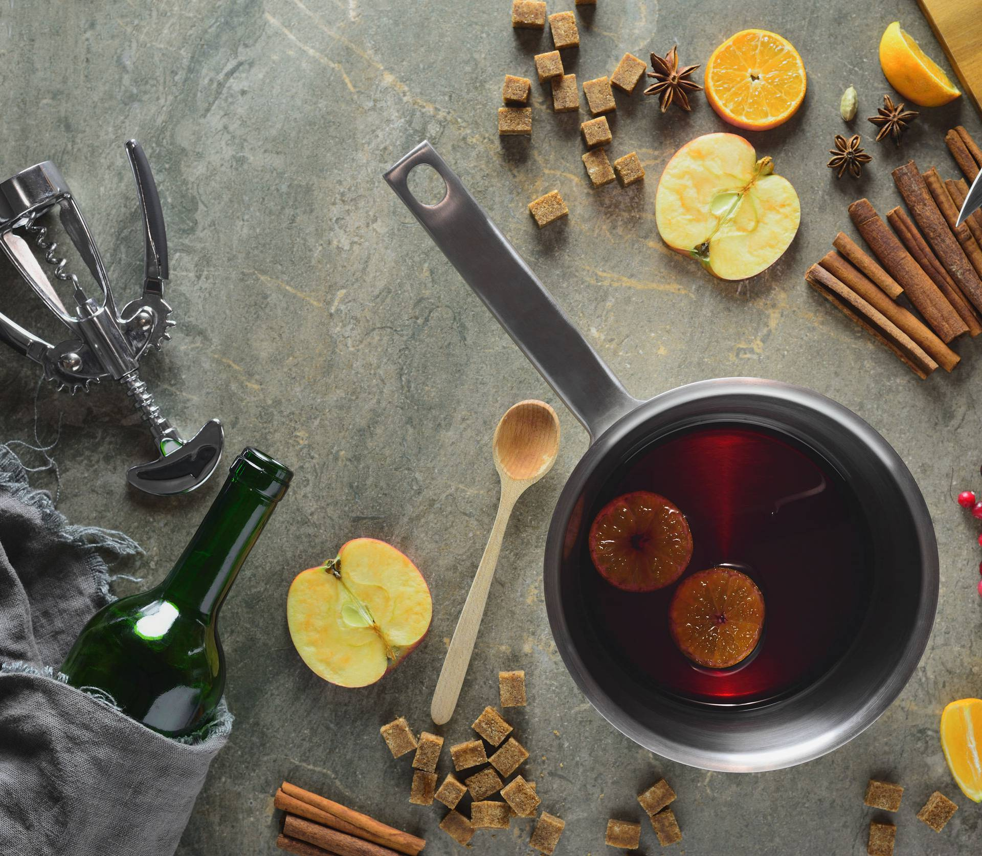 Cooking muled wine concept
