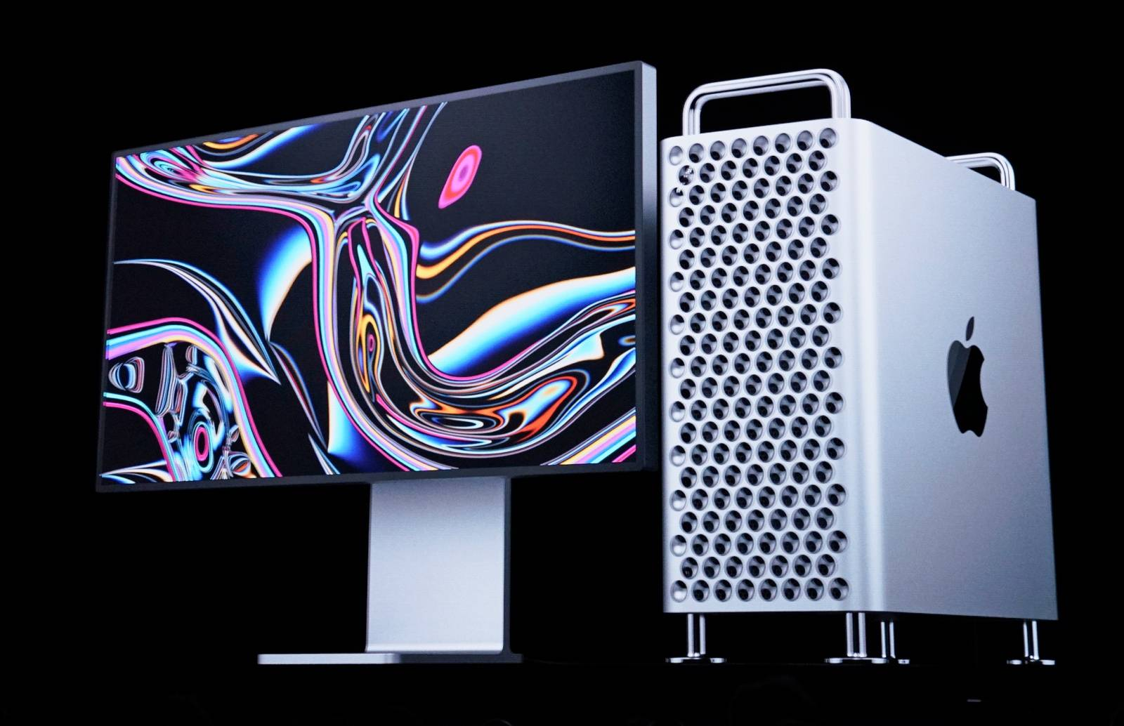 Apple's new Mac Pro is displayed during Apple's annual Worldwide Developers Conference in San Jose