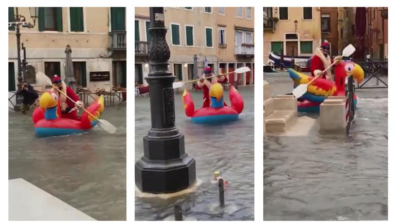 Novi prijevoz u Veneciji: Djed Božićnjak veslao na flamingu i privukao pažnju prolaznika