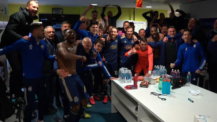 Fešta u svlačionici: Dinamovci burno proslavili veliku pobjedu
