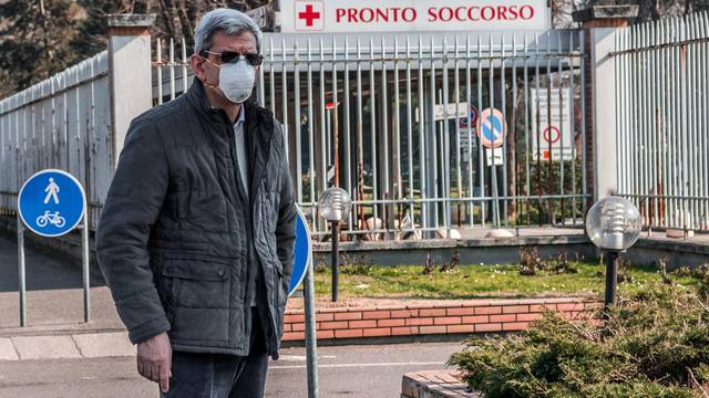 Codogno. Corona Virus Covid-19 emergency in Codogno closed shops and people with masks