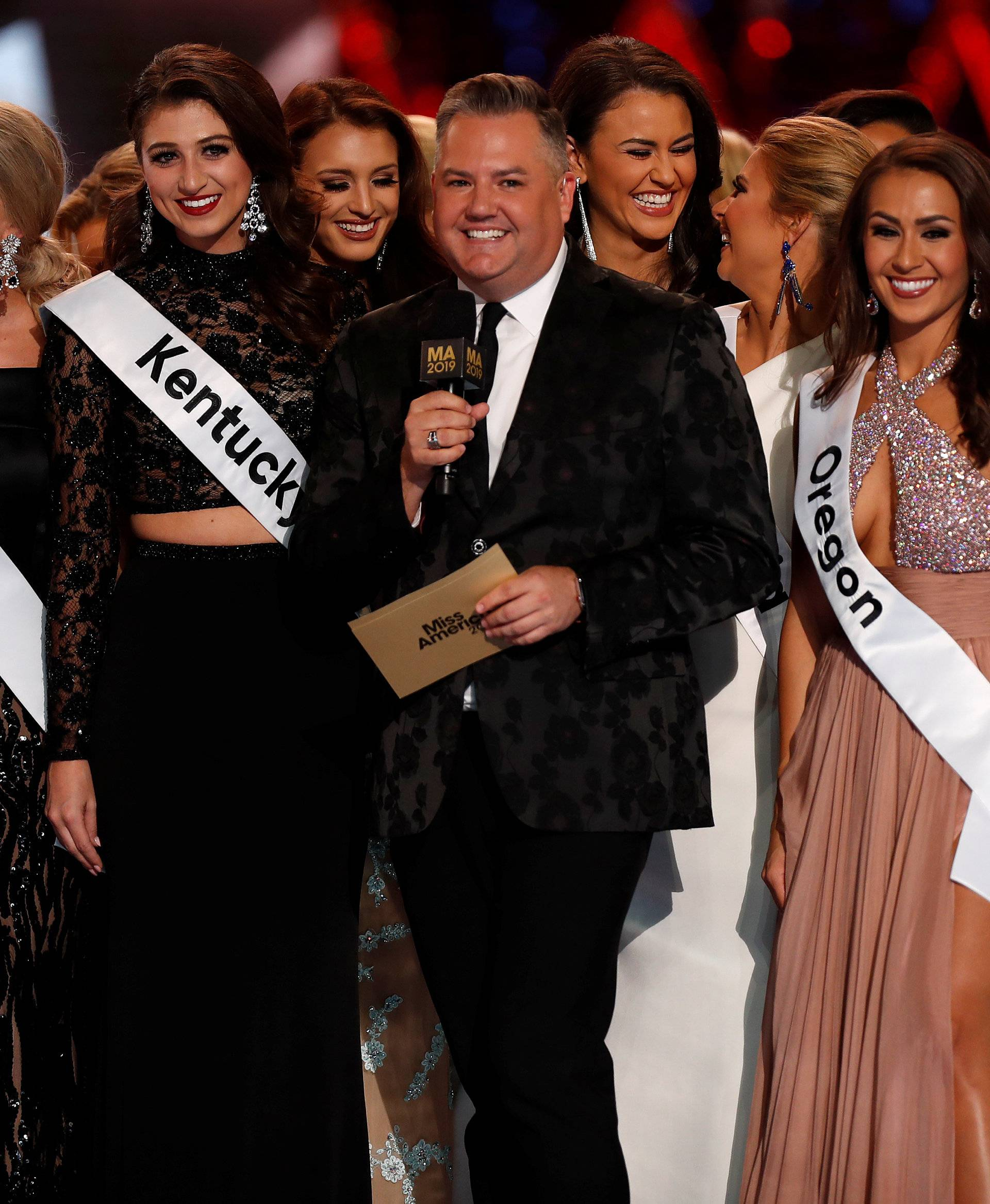 Ross Mathews hosts the Miss America pageant on stage in Atlantic City