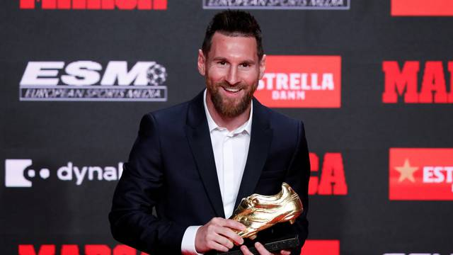 FC Barcelona's Lionel Messi receives his sixth Golden Shoe