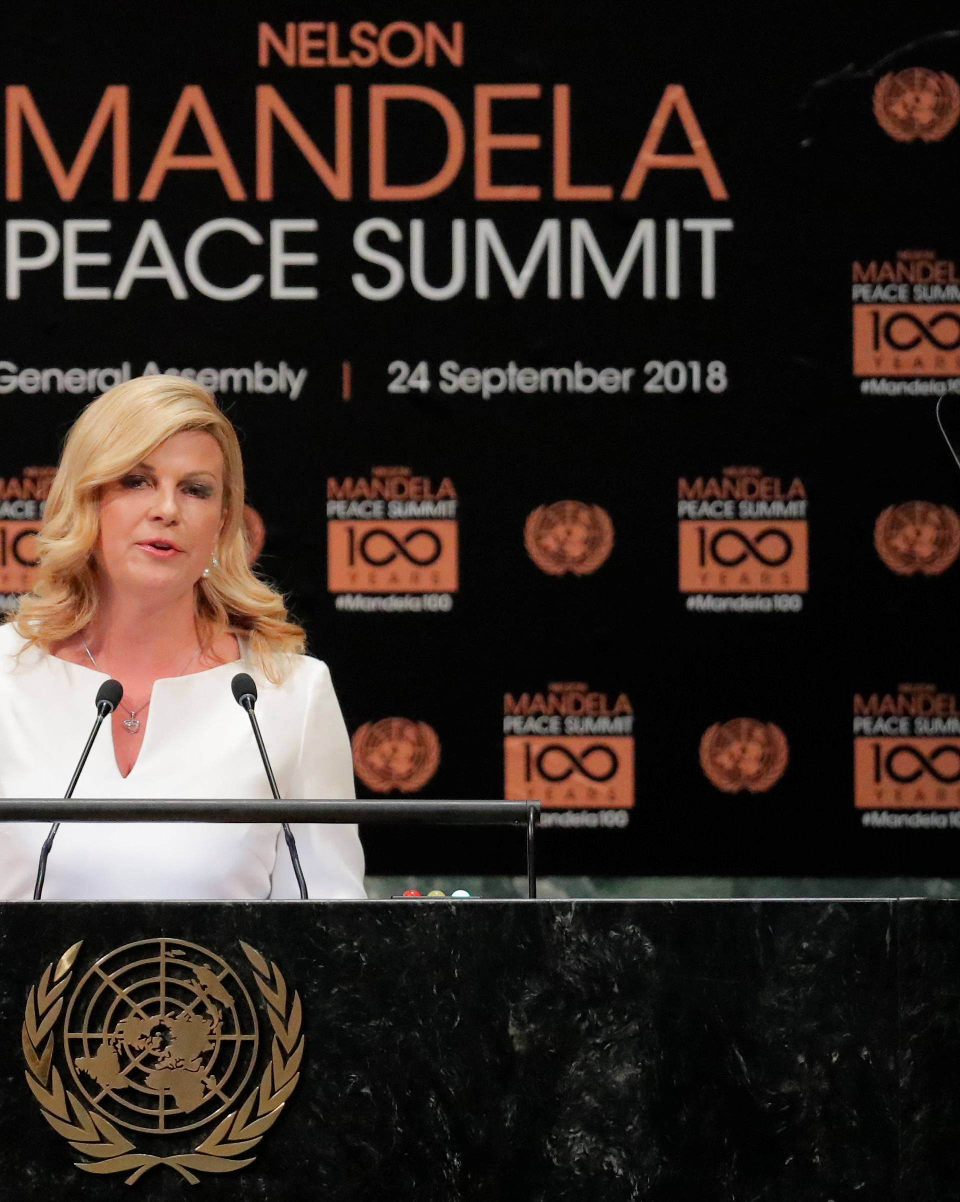 President of Croatia Kolinda Grabar-Kitarovic speaks at the Nelson Mandela Peace Summit during the 73rd United Nations General Assembly in New York
