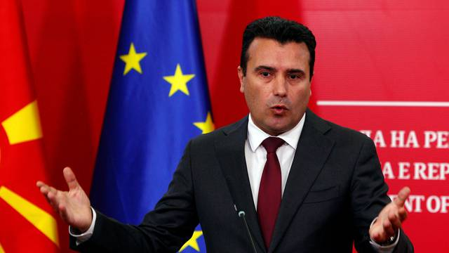 FILE PHOTO: Macedonian PM  Zaev addresses the press during a news conference in Skopje