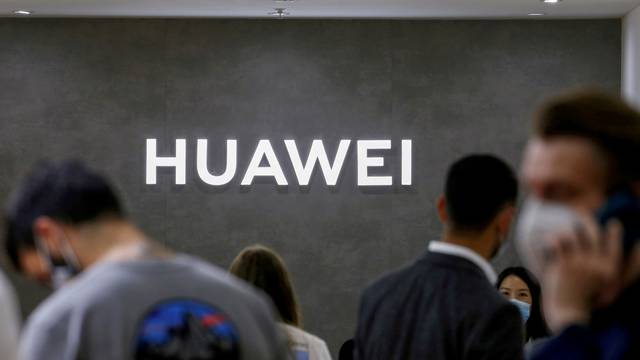 FILE PHOTO: The Huawei logo is seen at the IFA consumer technology fair, in Berlin