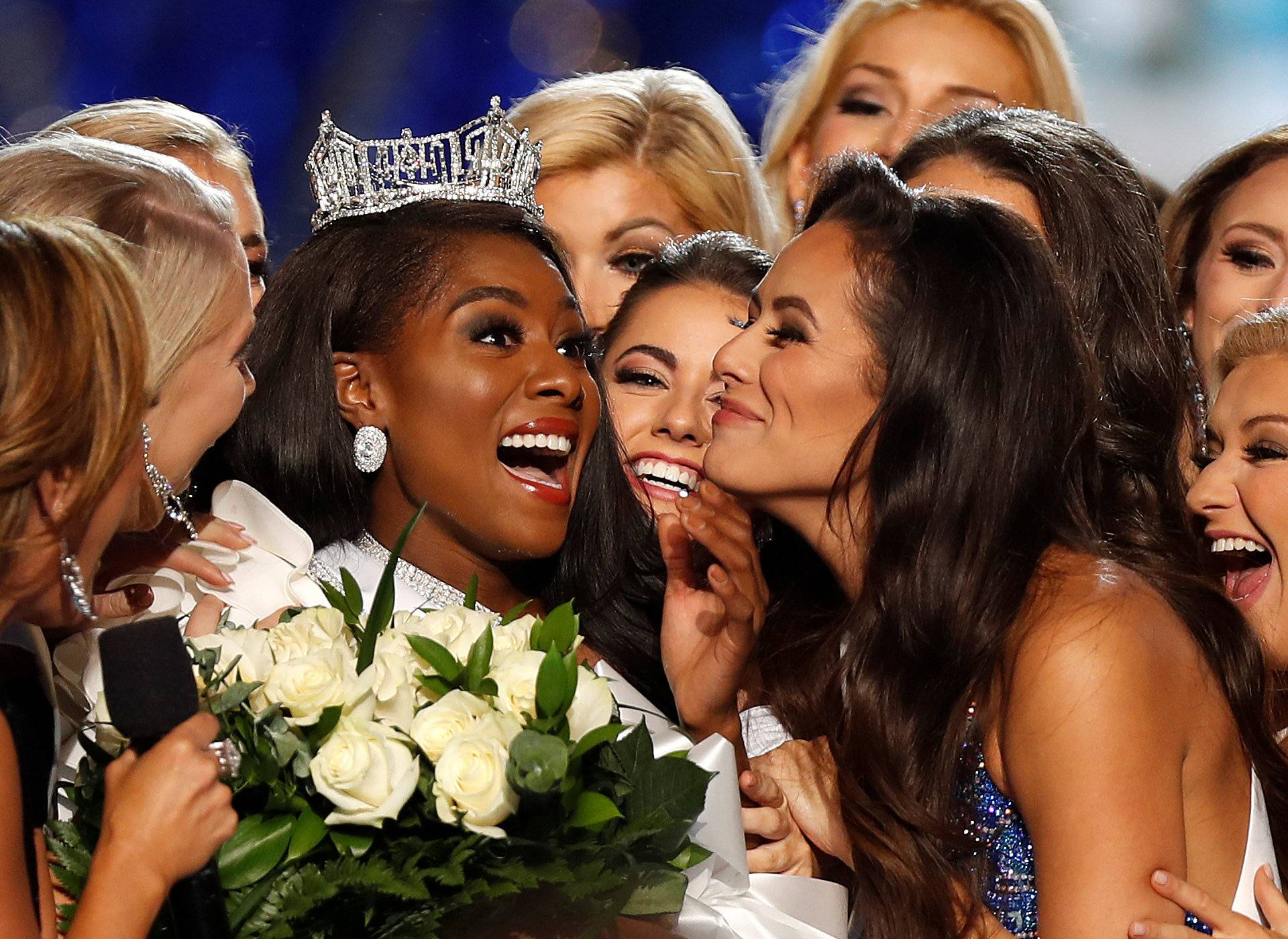 Miss New York Nia Imani Franklin reacts after she won Miss America on stage in Atlantic City