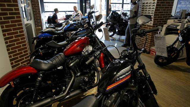 FILE PHOTO: FILE PHOTO: The logo of U.S. motorcycle company Harley-Davidson is seen on one of their models at a shop in Paris