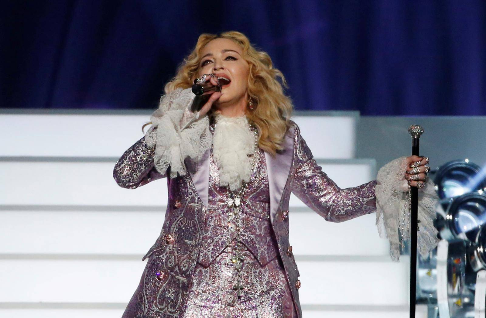 "FILE PHOTO: Madonna performs ""Nothing Compares 2 U"" during her tribute to Prince at the 2016 Billboard Awards in Las Vegas"