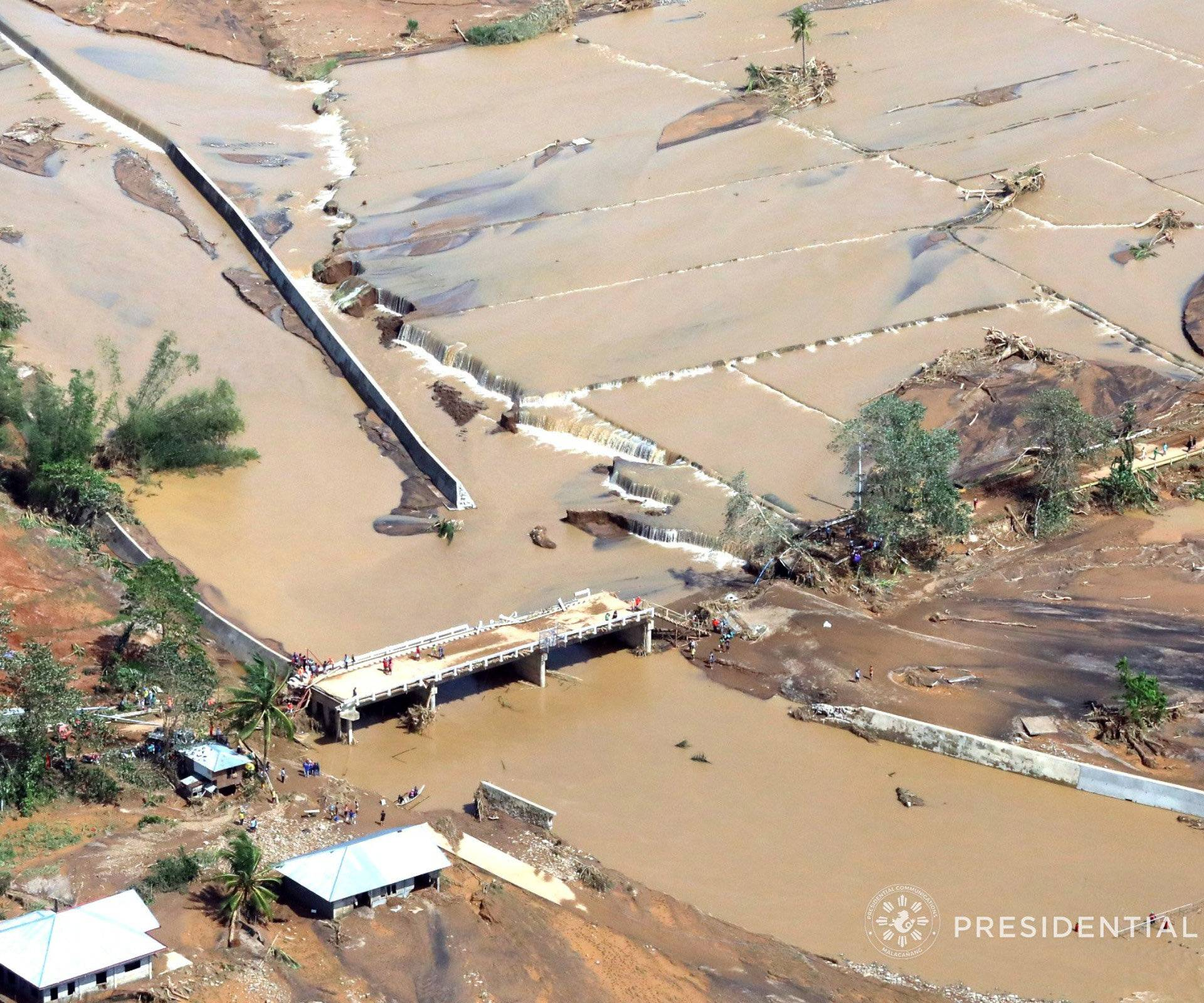 An aerial shot shows an impassable Caraycaray Bridge after it was destroyed when Typhoon Kai-tak, locally name Urduja, ravaged Biliran Province