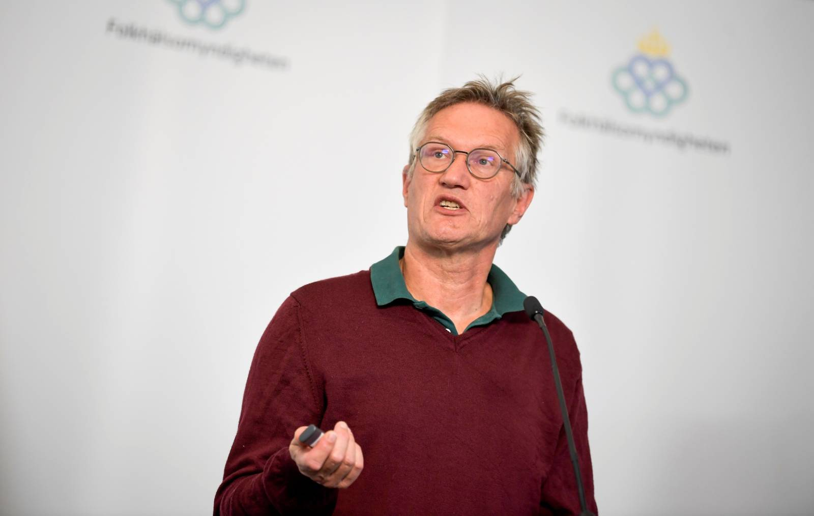 Anders Tegnell, the state epidemiologist of the Public Health Agency of Sweden speaks during a news conference about the daily update on the coronavirus disease (COVID-19) situation, in Stockholm
