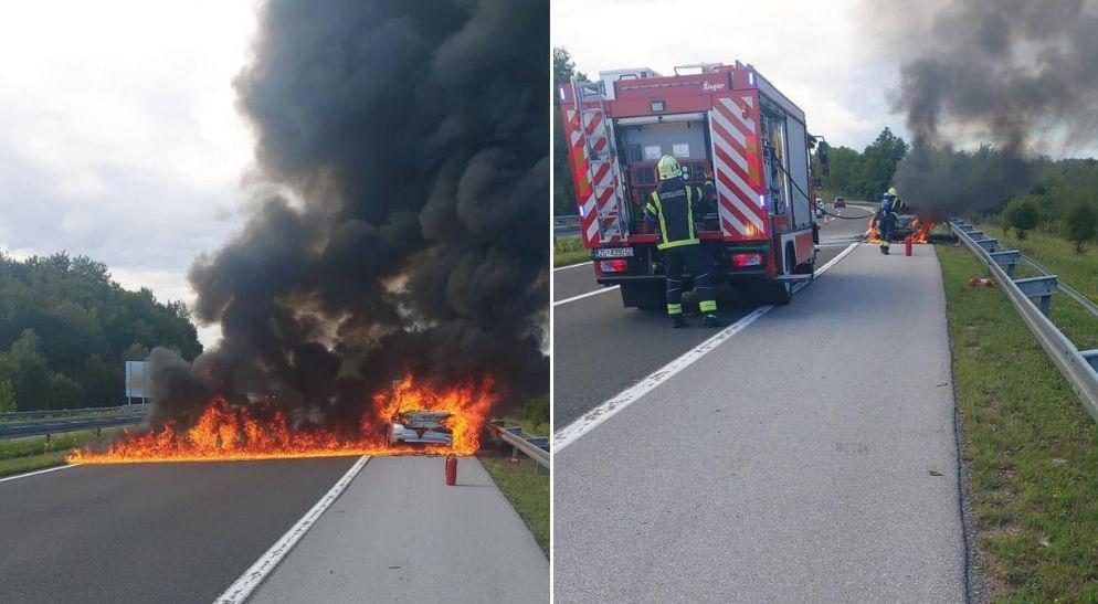 Kod Bosiljeva se zapalio BMW: 'Vozač je na vrijeme izašao iz auta, odmah sam stao pomoći'