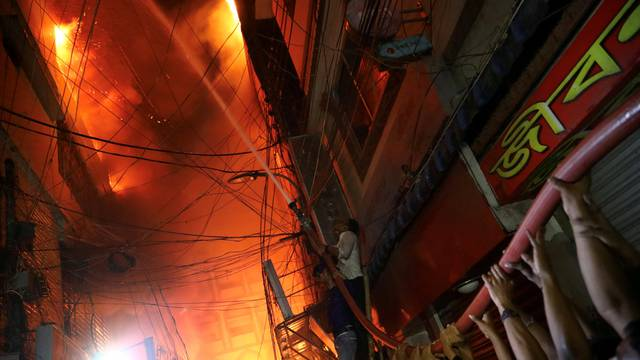 A view of a scene of a fire that broke out at a chemical warehouse in Dhaka