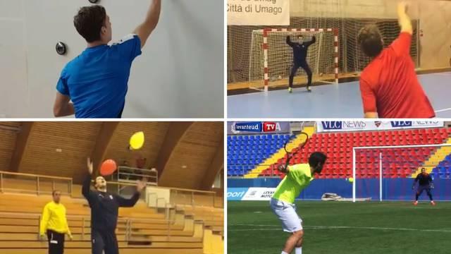 Baloni, teniski reket, loptice i školska klupa za supergolmane
