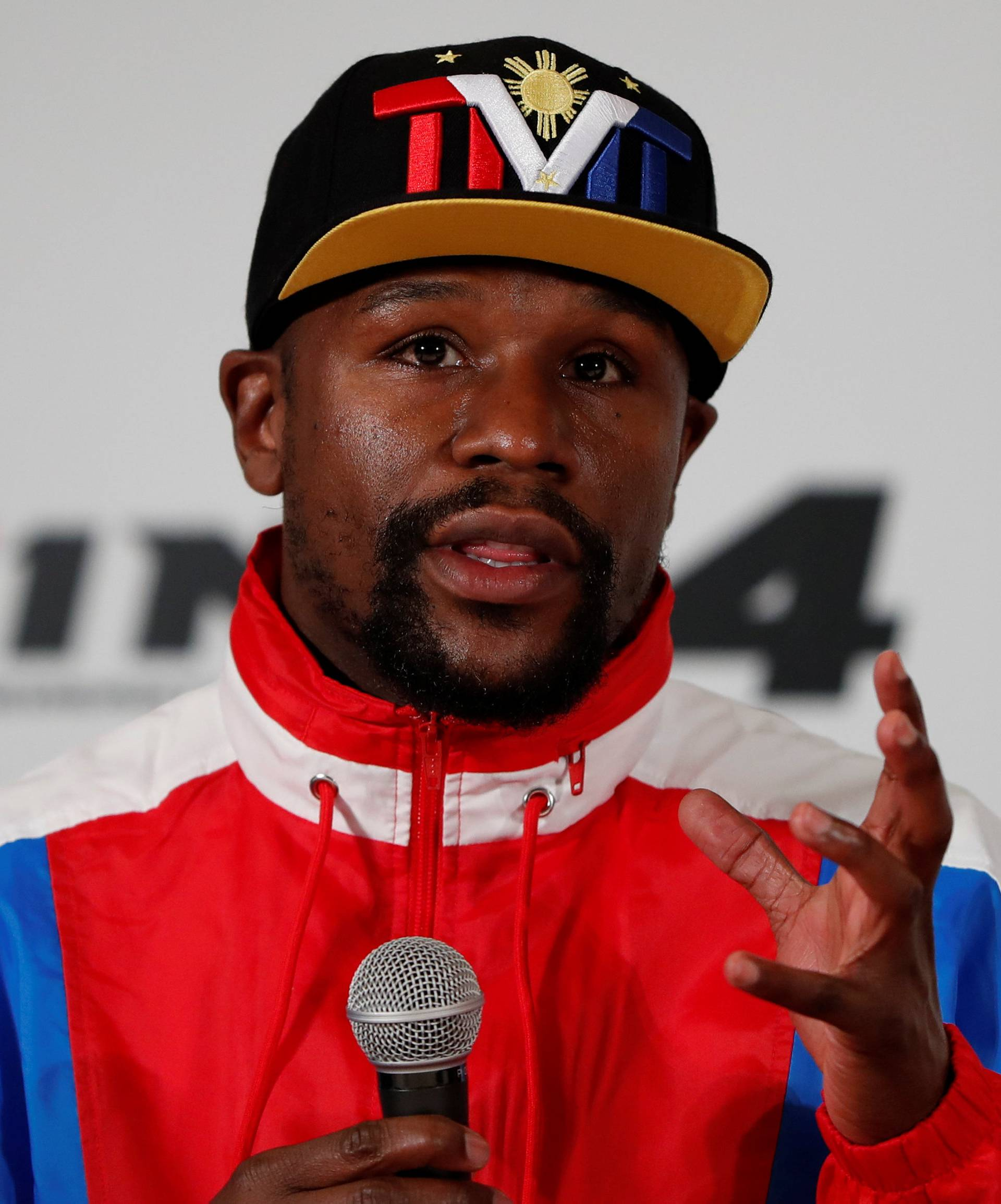 Undefeated boxer Floyd Mayweather Jr. of the U.S. attends a news conference inn Tokyo